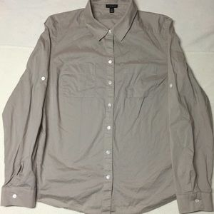 Ann Taylor Taupe Button Up Blouse Size 8